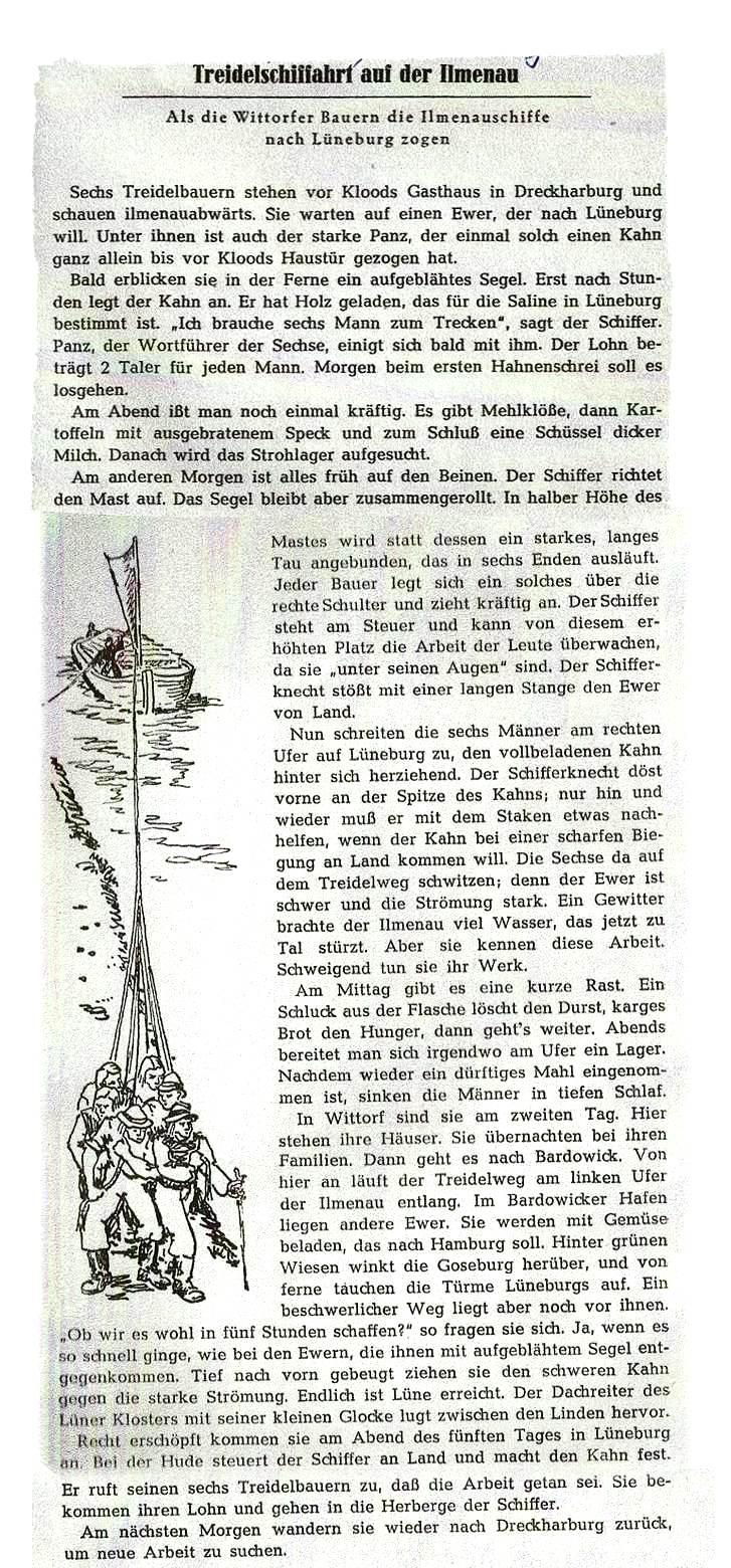 Treidelschiffahrt Ilmena Buch Lüneburger Land 1953