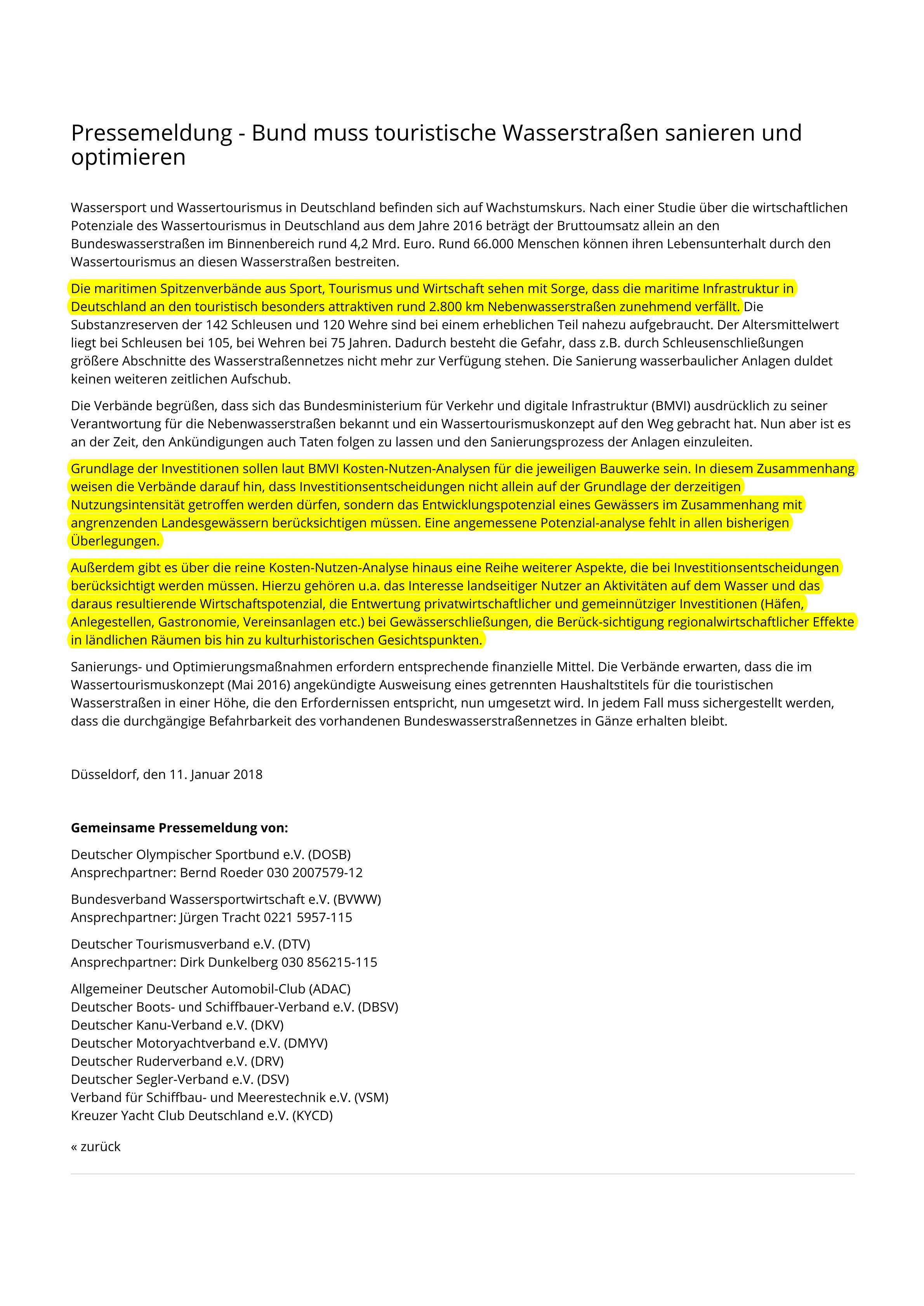 180118_Pressemeldung - Bundesverband Wassersportwirtschaft e.V. (BVWW)